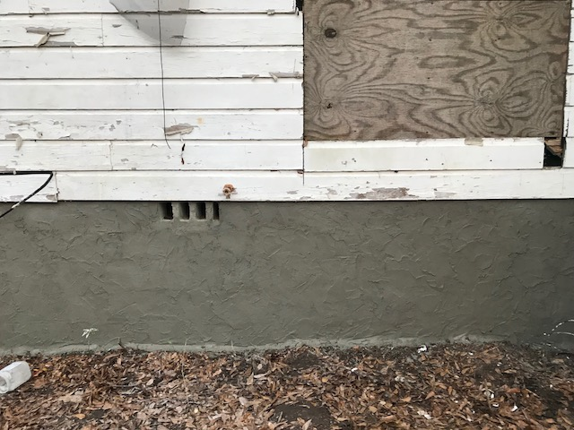 finished concrete back wall