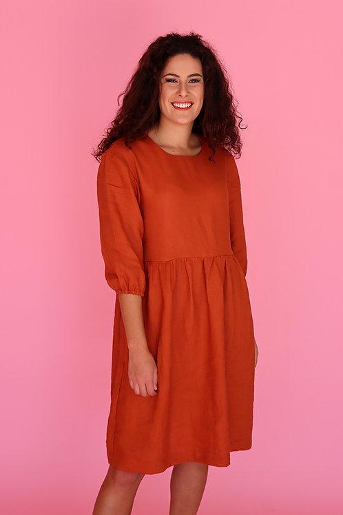 Paprika Linen Smock Dress (puff sleeve)