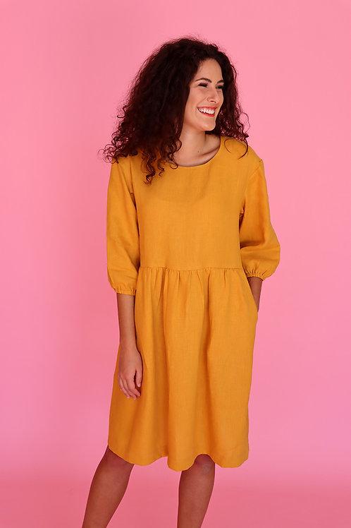 Mustard Linen Smock Dress (puff sleeve)