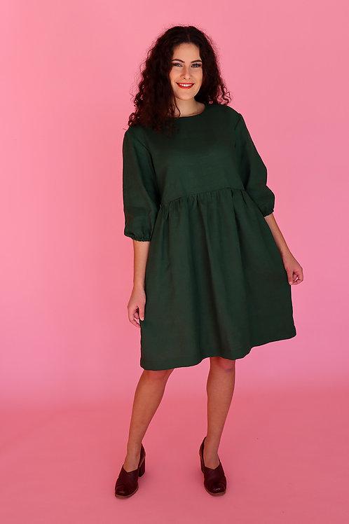 Evergreen Linen Smock Dress (puff sleeve)