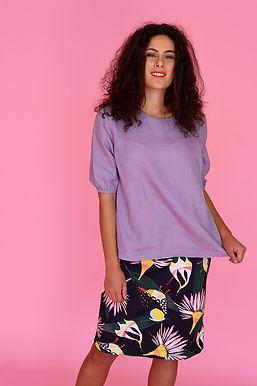 Lilac Linen Puff Sleeve Top