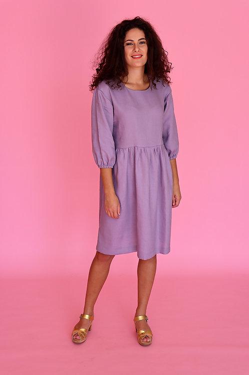 Lilac Linen Smock Dress (puff sleeve)