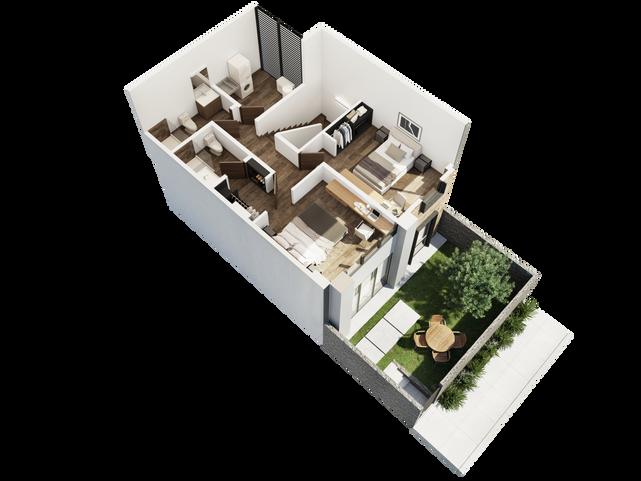 TOWNHOUSE PLANTA ALTA  Recámara principal con walkin closet Recámara secundaria 2 baños completos Cuarto de lavado   Área Interior: 117.2 m² Jardín: 28.6 m²