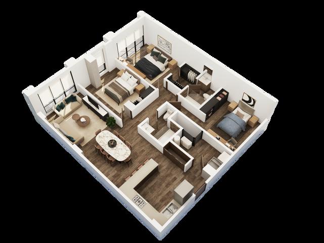 DEPARTAMENTO TIPO A  1 recámara principal con walk in closet 2 recámaras secundarias 2 baños Cuarto de lavandería Sala Cocina Comedor  Área Interior: 116.6 m²