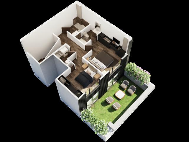 PENTHOUSE PLANTA ALTA  Recámara principal con walk in closet Recámara secundaria 2 baños completos Cuarto de lavandería   Área Interior: 115.1 m² Terraza: 28.3 m²