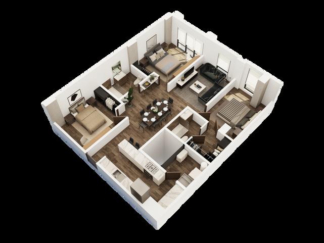 DEPARTAMENTO TIPO B  1 recámara principal con walk in closet 2 recámaras secundarias 2 baños Cuarto de lavandería Sala Cocina Comedor  Área Interior: 106.7 m²