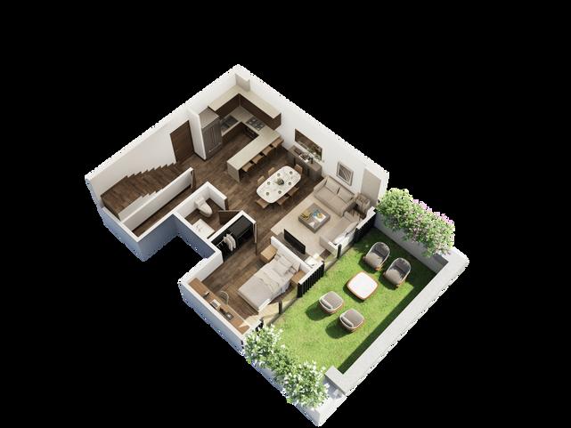PENTHOUSE PLANTA BAJA  Recámara secundaria Baño completo Cocina Sala Comedor Closet de blancos   Área Interior: 115.1 m² Terraza: 28.3 m²