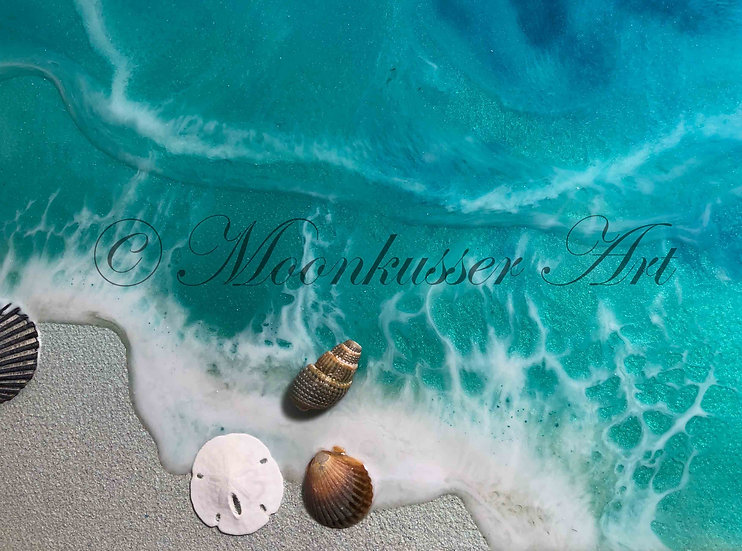 Beach Resin Art - Tropical Isle, abstract seashore with real shells
