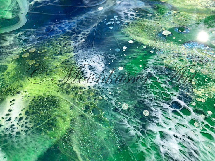 Resin Art - Atlantis, details inspired by drifting seaweed across deep ocean waters