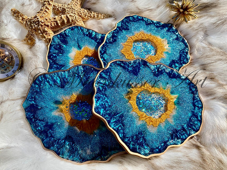 Geode Resin Coasters - Bali, created with epoxy resin of teal and gold pigments as a set of 4