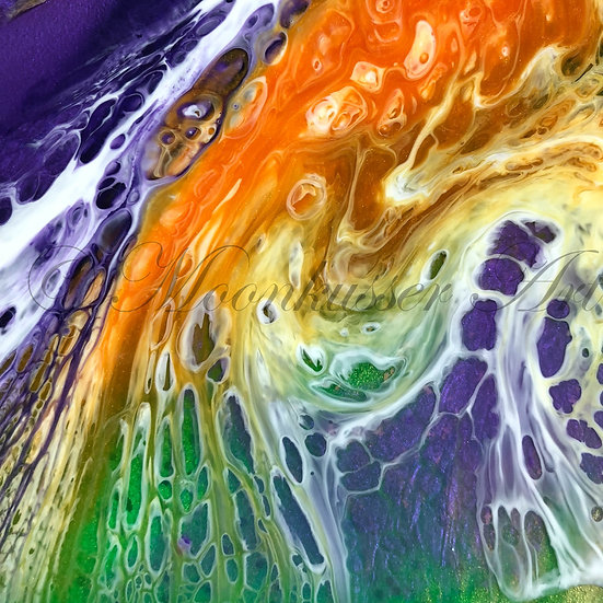 Resin Art - Bird of Paradise by Moonkusser Art, tropical colors in epoxy resin combine to create effects in layers