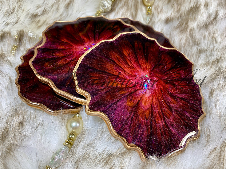 Geode Resin Art Coasters - Merlot Geodes, tones of wine edged with gold in epoxy resin