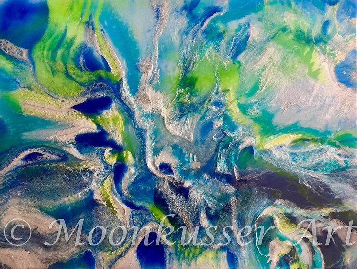 Moonkusser Art Original Modern Art Resin Painting Freeze Silver Blue Green