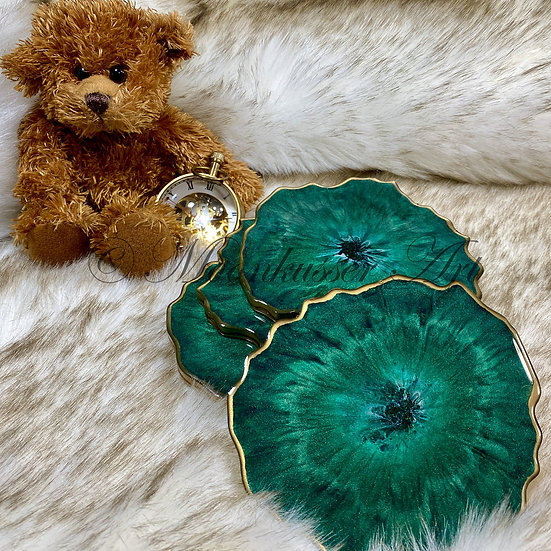 Geode Resin Art Coasters - Hunter Green Geodes, tones of green edged in brass epoxy resin