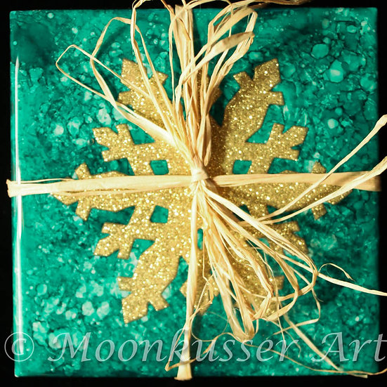 Handmade Fluid Art Coasters Set of 4 Colors: green and gold