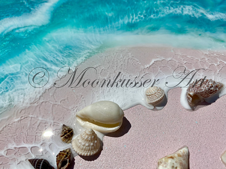 Beach Resin Art - Harbour Island, inspired by pink sand beaches of Bahama