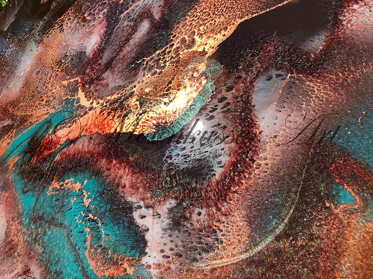 Resin Art - Cinnamon Girl, copper sets this artwork on fire over fields of turquoise and brown