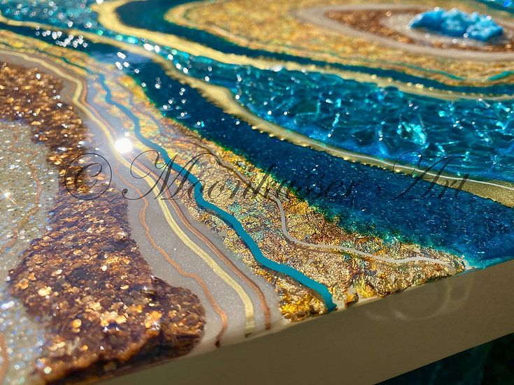 Geode Resin Art - Geode Turquoise, rings of copper, teal, turquoise, gold, and ivory with stone crystal center