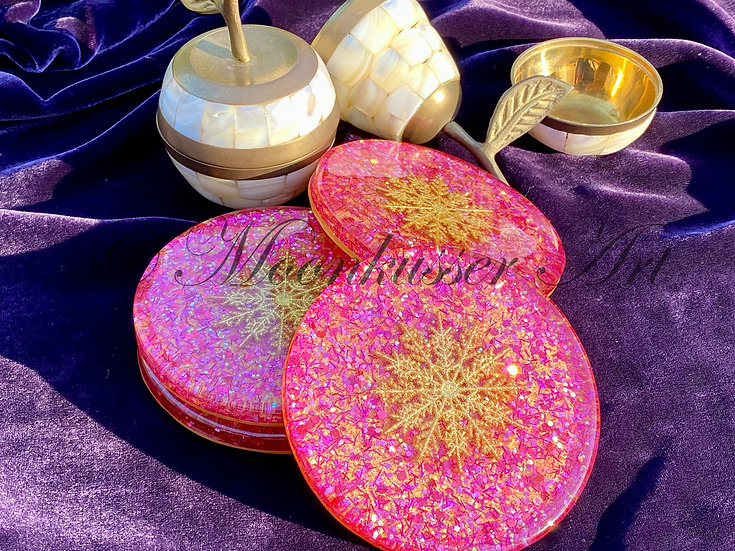 Resin Art Coasters - Festive, gold snowflake center floats over glitter combo of pinks & purples with gold background
