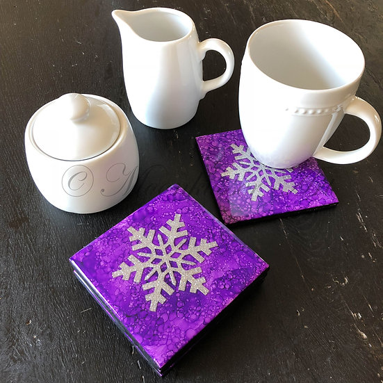Resin Art Coasters - Silver Snowflake on Purple, stackable with cork back and heat resistant to 500ºF