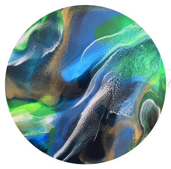 Resin Art Painting - Terra, created on circular canvas inspired by views of Earth from outer space
