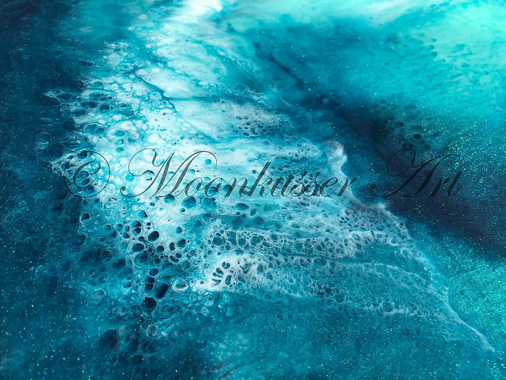 Beach Resin Art- Wavelength - epoxy resin artwork of deep sea waves crashing creating sea foam effects