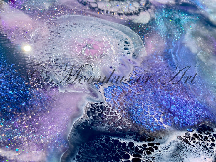Resin Art Painting- Celestial Awakenings - multiple layers in epoxy resin build depth and details