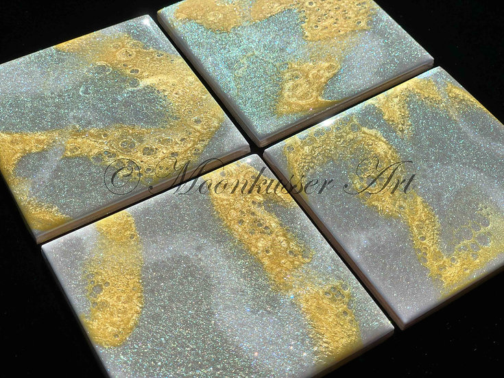 Resin Art Coasters- Green Gray Sparkle with Gold and Pearl accents