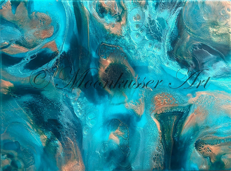 resin art - Sargasso Sea by Moonkusser Art, abstract ocean inspired artwork of teal, turquoise, and gold