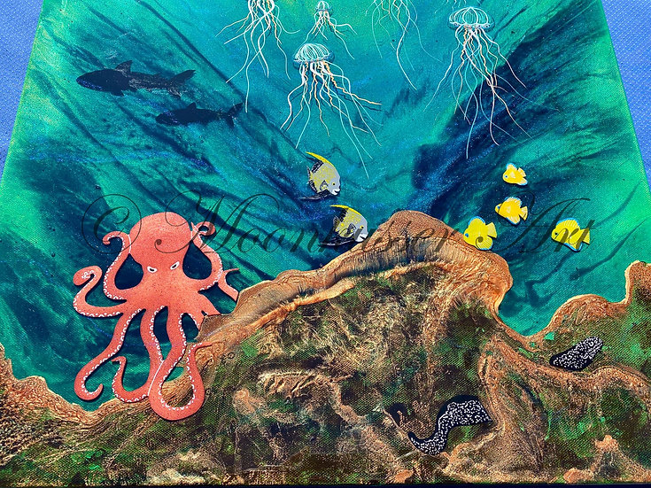 ResinArt - Octopus's Garden, underwater scene of octopus, eel, fish, and jellyfish