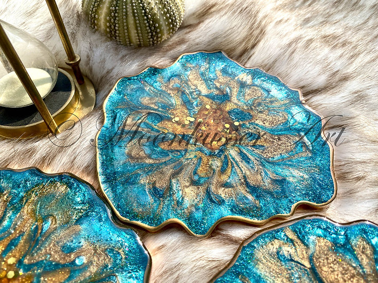 Geode Coasters - Sea Nymph, epoxy resin geode coasters of turquoise and gold