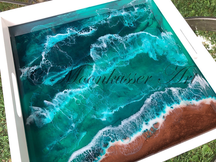 Moonkusser Art: Resin Art Serving Tray - North Sea