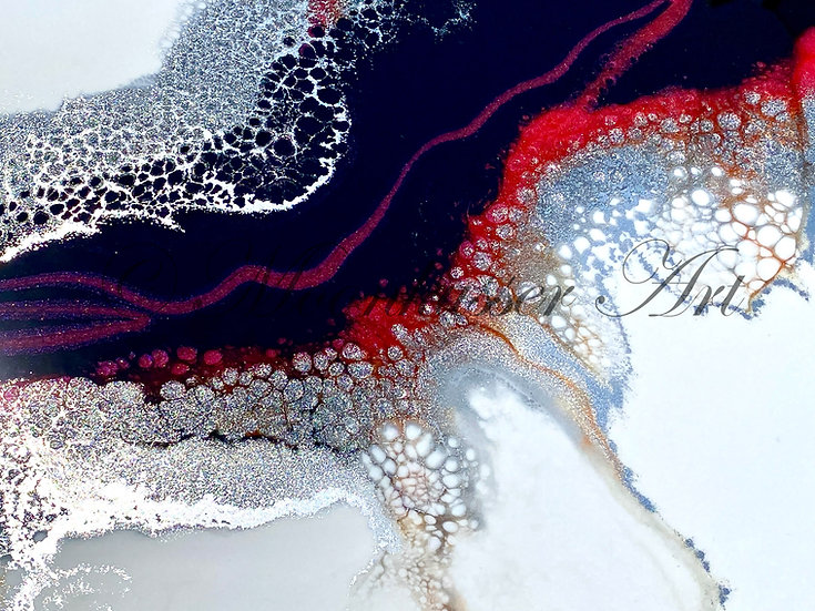 Abstract Resin Art - Feed The Fire, pigments of white, black, metallic silver, and color shifting pinks