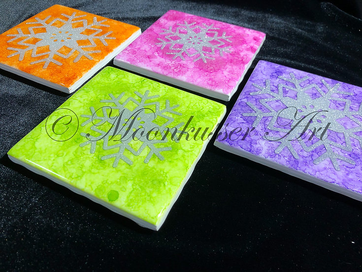 Resin Art Coasters - Bright Snowflake, stackable with cork back and heat resistant to 500ºF