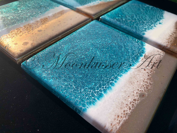 Resin Art Coasters - Beach, teal, white, and rose gold