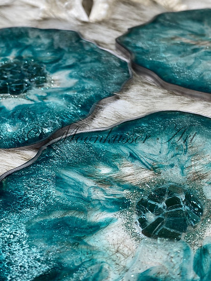 Ocean Geodes - Resin Coasters, turquoise and silver epoxy resin with gilded silver edges