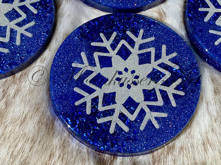 Resin Art Coasters - True Blue Snowflake, sparkling silver snowflake floats over blue background