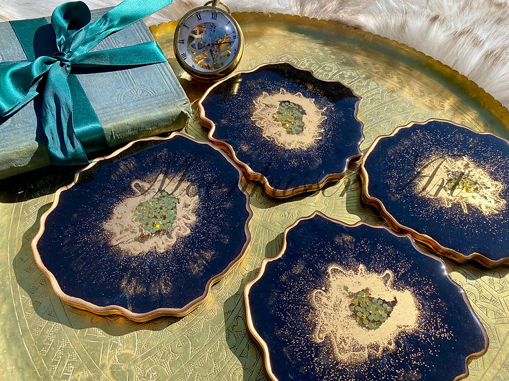 Geode Resin Art Coasters - Onyx Geodes, pitch black with metallic gold and gold glitter center