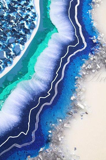 Moonkusser Art, Original Modern Abstract Resin Geode Art, Geode Blue detail 5