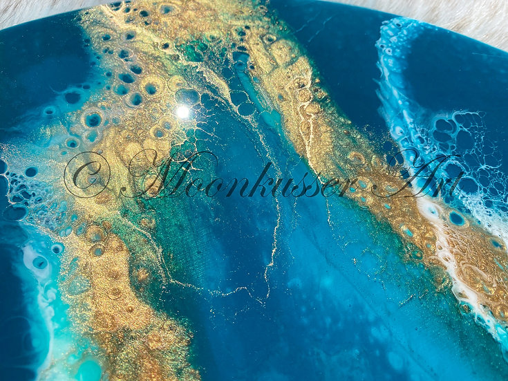 Resin Art Lazy Susan - Teal, deep shades of teal and turquoise blend with effects of metallic gold and white