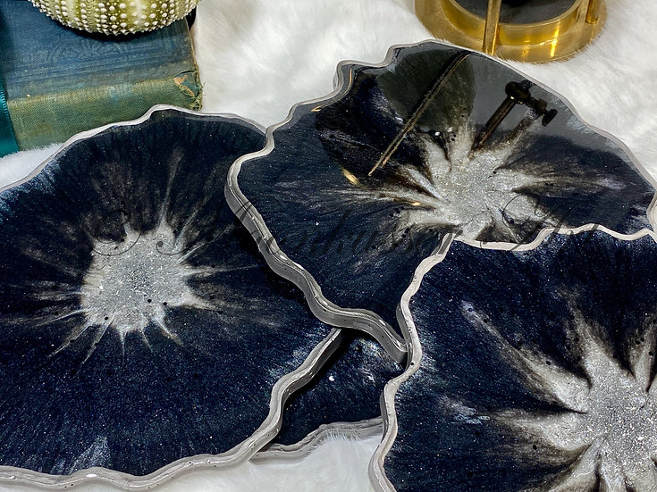 Geode Resin Art Coasters - Slate Geodes, metallic slate gray edged with silver in epoxy resin