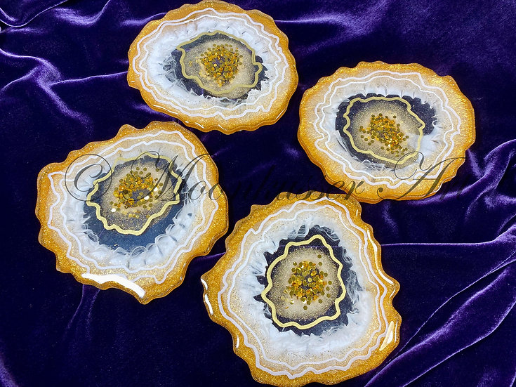 Resin Art Coasters - Geode Charisma - sparkling chunky gold center surrounded in white and more gold