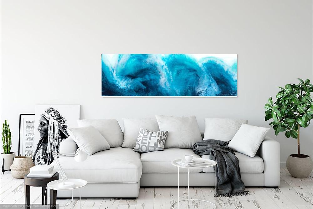 Moonkusser Art - Wavelength, Resin Art Painting suggests ocean waves, crashing sea, turquoise waters, tropical water