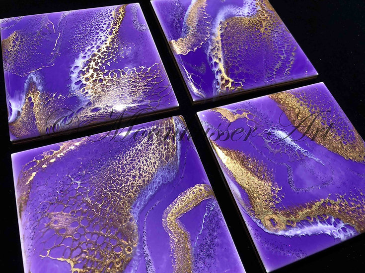 Resin Art Coasters- Violet, Sparkle, and Gold