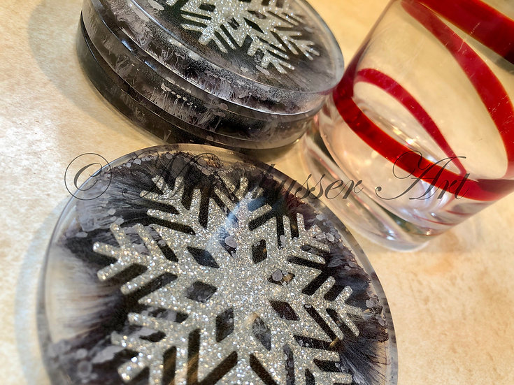 Resin Art Coasters - Black with Silver Snowflake, epoxy resin with black ink under silver snowflake