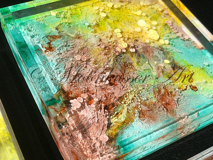 Resin Art Coasters - Fern, petri dish look of inks in epoxy resin square coaster