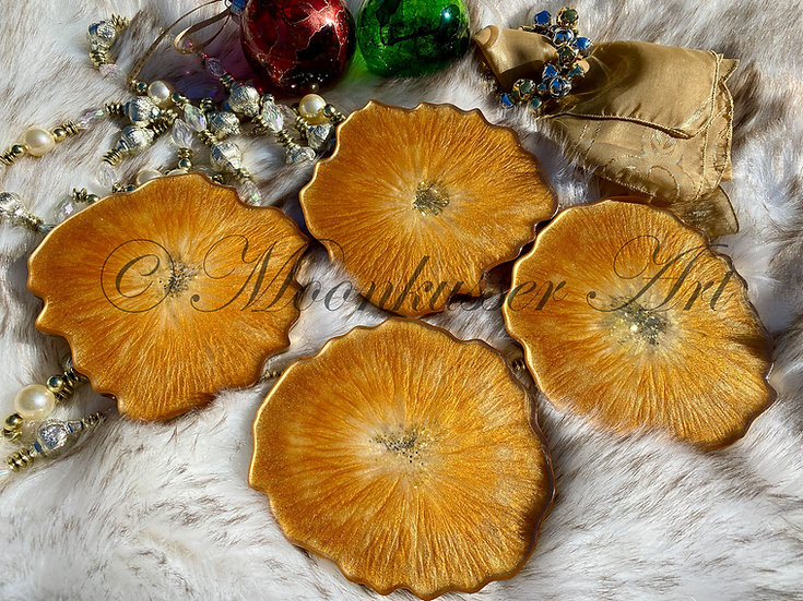 Geode Coasters - Butterscotch, created with epoxy resin and shades of gold pigments as a set of 4