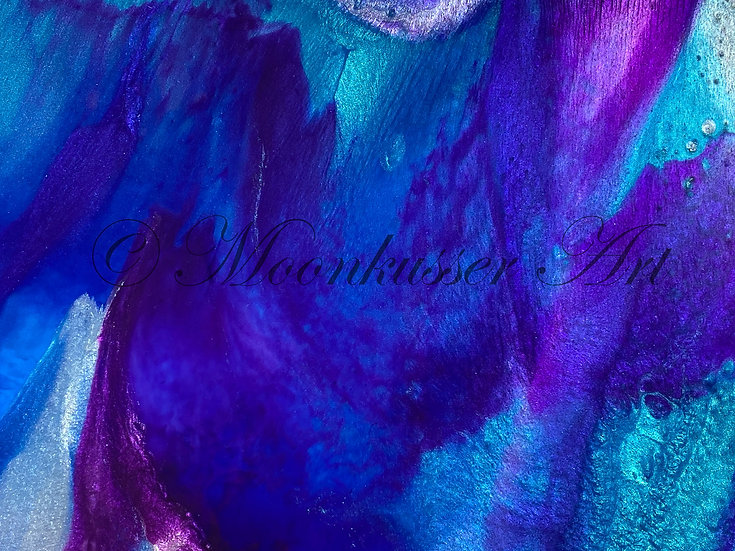 Resin Art - Icebound - shows layer details and effects in blues and purples in epoxy resin