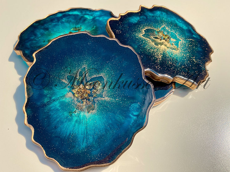 Geode Resin Art Coasters - Neptune Geodes, transparent teal with gold flake center edged with gold in epoxy resin