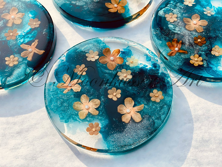 Floating Flowers- Resin Art Coasters by Moonkusser Art, Set of 4, Teal, Blue, Turquoise